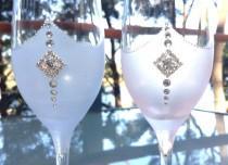 wedding photo - Fantasy Wedding Champagne Toasting Glasses Wedding Glasses for Bride and Groom  Toasting Glasses Wedding Flutes Hand Painted Flutes