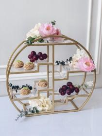 wedding photo - Circle 4 tier cake stand for candy bar decoration.