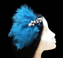 wedding photo - 1920s Gatsby headband. Great gatsby headband. 1920s flapper headband. Turquoise feather headpiece. Bridal headpiece. Bridesmaid headpiece.