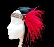 wedding photo - Red and gold flapper headpiece. Gatsby wedding.