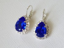 wedding photo - Blue Crystal Halo Earrings, Cobalt Blue Leverbacks, Swarovski Majestic Blue Earrings, Sapphire Earrings, Wedding Jewelry, Bridal Party Gift