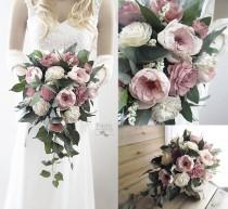 wedding photo - Two Tone Dusty Rose Sola Flower Bridal Cascade Bouquet ~ Colors: Light and Dark Dusty Rose & Natural Ivory ~ Sola Wood Bouquet