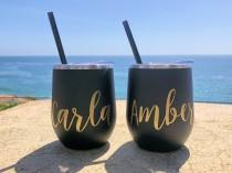 wedding photo - Wine Tumbler - Custom Wine cup - Personalized Wine Tumbler - Bachelorette Party Favors Personalized Wine Glass Wine Tumbler with Lid