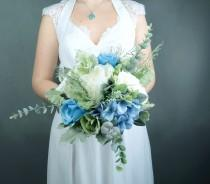 wedding photo - Pastel blue white silk flowers bouquet with greenery Best quality dusty miller flocked leafs roses hydrangea eucalyptus ivory bridesmaid