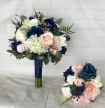 wedding photo - Navy Wedding bouquet,Blush Bridal bouquet,Navy blue & blush bouquet,Navy wedding flowers,Blush wedding flowers,Wedding accessory,Bridesmaid
