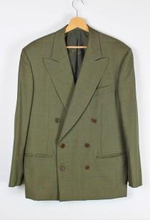 wedding photo - Vintage Salvatore Ferragamo Men's Suit, Olive Green Wool 2pcs Set