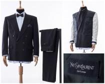 wedding photo - Mens YVES SAINT LAURENT Double Breasted Suit Blazer Trousers Size 42 L 52, mens ysl ,vintaeg suit, mens blazer, mens tailored