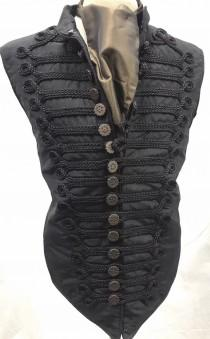 wedding photo - Steampunk Black Waistcoat with black Braiding and cogs gear copper buttons with self tie brown silk Cravat in size XL 44""