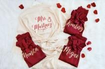 wedding photo - Bridesmaid Robes, Personalized Getting Ready Robes, Robes with Lace, Bridesmaids Wedding Robes, Bridesmaid Getting Ready Robes, Bridal Robes