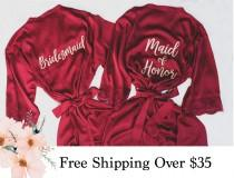 wedding photo - Burgundy Bridesmaids Robes With Lace, Champagne Bride Robe, Getting Ready Wedding Outfits, Wedding Gifts, Robes for Bridesmaids, Solid Robes