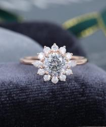 wedding photo - Salt and pepper moissanite engagement ring vintage Rose Gold engagement ring Halo Flower pear shaped wedding women Bridal Anniversary gift