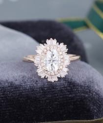 wedding photo - Rose gold engagement ring vintage Moissanite engagement ring for women Unique Halo Diamond baguette Antique art deco Bridal Anniversary gift