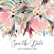 wedding photo - Watercolor wreath garden flower Baby Shower Invitation editable template card PDF 5.25x5.25 in wedding invitation maker