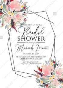 wedding photo - Watercolor wreath garden flower Baby Shower Invitation editable template card PDF 5x7 in invitation maker