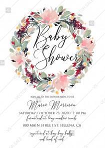 wedding photo - Watercolor wreath garden flower Baby Shower Invitation editable template card PDF 5x7 in