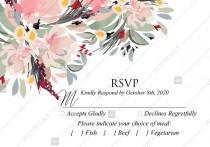 wedding photo - Watercolor wreath garden flower Baby Shower Invitation editable template card PDF 5x3.5 in personalized invitation