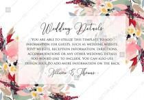 wedding photo - Watercolor wreath garden flower Baby Shower Invitation editable template card PDF 5x3.5 in online editor