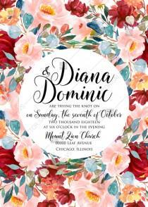 wedding photo - Wedding invitation set autumn marsala pink peony rose watercolor greenery PDF 5x7 in invitation maker