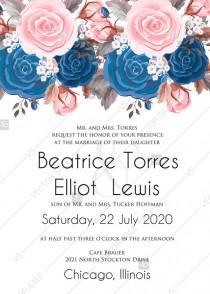 wedding photo - Wedding invitation pink navy blue rose peony ranunculus floral card template PDF 5x7 in online editor