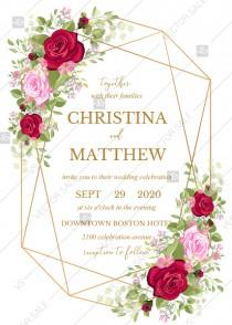 wedding photo - Wedding invitation set red pink rose greenery wreath card template PDF 5x7 in wedding invitation maker