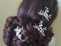 wedding photo - White Pearl Wedding Hair Pins, Bridal Hair Pieces, Set of 3 Pearl Hair Pins, Floral Head Pins, Pearl Hair Jewelry, Bridal Hair Accessories