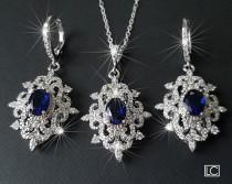 wedding photo - Bridal Jewelry Set, Wedding Earrings&Necklace Set, Navy Blue Silver Halo Jewelry Set, Vintage Bridal Jewelry Sapphire Blue Victorian Jewelry