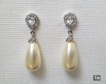 wedding photo - Bridal Pearl Earrings, Swarovski Ivory Teardrop Pearl Earrings, Pearl Silver Dangle Earrings, Wedding Bridal Jewelry, Bridal Party Gift