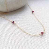 wedding photo - Garnet Necklace, Gold Garnet Necklace, January Birthstone Necklace, Genuine Garnet, Dainty Necklace, Gift for Her