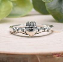 wedding photo - Solid 925 Sterling Silver Irish Traditional Celtic Claddagh Ring Womens Dainty Everyday Jewelry Promise Engagement Wedding Band
