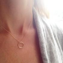 wedding photo - Gold Circle Necklace, Minimal Necklace, Simple Gold Necklace, Infinity Necklace, Ring Necklace, Dainty Necklace, Layered Necklace
