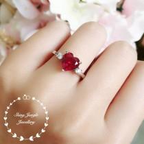 wedding photo - Heart shaped ruby ring, heart cut ruby engagement ring, red heart ring, heart cut ring, red stone ring, ruby ring, ruby engagement ring