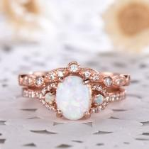wedding photo - Opal Rose Gold Wedding Engagement Ring Set 14k 925 Sterling Silver CZ Diamond Matching Band Antique Vintage Bridal Promise Anniversary Gift