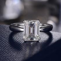 wedding photo - Emerald Cut Moissanite Engagement Ring Unique Moissanite Wedding Bridal Ring Minimalist Simple Solitaire White Gold Ring Women Double Prongs