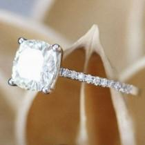 wedding photo - 2.40 Cushion Cut Ring - 14K Gold Plated - Engagement Ring - Simulated Diamond Ring - Cushion Solitaire Ring- Promise Ring Size 3 ~ 13