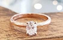 wedding photo - Oval Diamond Engagement Ring 14K Gold, Rose Gold Engagement Ring, Solitaire engagement ring, Wedding Ring, Classic Ring, Anniversary Ring