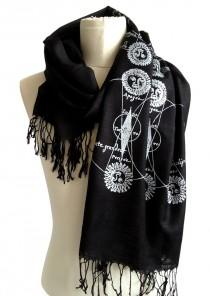 wedding photo - Eclipse Printed Scarf. Sun and Moon, solar & lunar eclipse, night sky scarf. Bamboo fringed pashmina. Gift for her, intuitive, healing arts