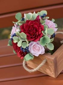 wedding photo - Woodland peony bouquet - Alternative fall burgundy bouquet - Forest wedding bouquet