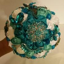 wedding photo - Beautiful Teal white sage and off white Brooch Bouquet
