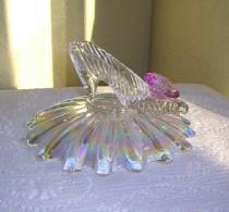 wedding photo - Cinderella Slipper with Iridescent Pillow Bowl & Oleg Cassini Crystal, Cinderella Wedding Reception Shower Centerpiece Table Decoration