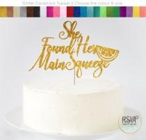 wedding photo - She Found Her Main Squeeze Cake Topper, Lemon Themed Bridal Shower Decorations, Citrus Bridal Shower Decorations, Fruit Themed Cake Topper