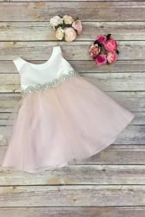 wedding photo - Flower Girl Dress,FREE SHIPPING,Ivory Dress, Baby pink Dress, Pink Dress, Flower Girl, Wedding Flower Girl Dress, Baptismal Dress, Ivory