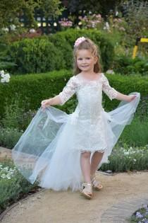 wedding photo - Ivory flower girl dress Lace girls party dress Toddler Birthday Princess Girls wedding dress Communion Special occasion off shoulder