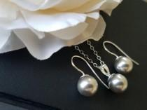 wedding photo - Light Grey Pearl Jewelry Set, Grey Silver Earrings&Necklace Set, Swarovski Pearl Jewelry Set, Wedding Grey Pearl Jewelry, Bridal Party Gift