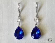 wedding photo - Blue Crystal Earrings, Swarovski Majestic Blue Silver Earrings, Cobalt Blue Sapphire Teardrop Earrings Royal Blue Wedding Bridesmaid Jewelry