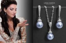 wedding photo - Blue Pearl Bridal Jewelry Set, Swarovski 8mm Light Blue Earrings&Necklace Set, Bridal Jewelry Set, Bridesmaids Gift Jewelry, Wedding Jewelry