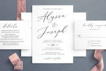 wedding photo - Simple Wedding Invitation Template, Minimalist Wedding Invitations, Elegant Editable Wedding Invite, Digital Download, LSS27