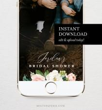 wedding photo - Self-Editing Bridal Shower Geofilter, SnapChat Filter, Blush Florals & Greenery, INSTANT DOWNLOAD, 100% Editable, Templett  #043-108GF