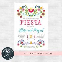 wedding photo - Fiesta couples shower invitations / fiesta invitation / wedding shower invites / INSTANT DOWNLOAD / Printable, Editable Template