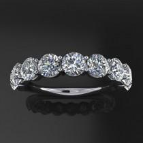 wedding photo - ready to ship - gia ring - NEO moissanite anniversary band, 7 stone anniversary ring