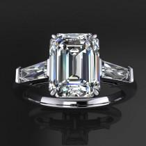 wedding photo - laurel ring – 1.8 carat radiant cut NEO moissanite engagement ring, baguette ring